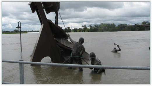 Image of Sculpture in flood waters