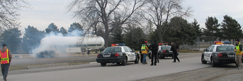 police securing the area around the Anhydrous Ammonia leak