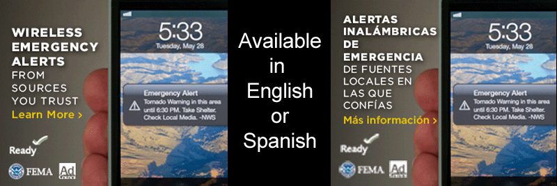 wireless emergency alerts are available in English or Spanish